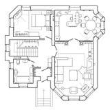 Plan arquitectónico de una casa Plan de piso del apartamento con los muebles ilustración del vector