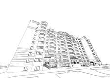Plan arquitectónico detallado del edificio de varios pisos con perspectiva de disminución Modelo del vector libre illustration