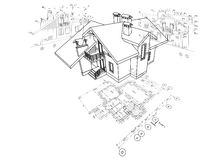 Plan arquitectónico detallado, plan de piso, disposición, opinión de perspectiva, modelo 3d Imagenes de archivo
