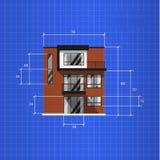 Plan arquitectónico en fondo azul ilustración del vector