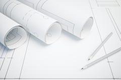 Plan arquitectónico y lápices stock de ilustración