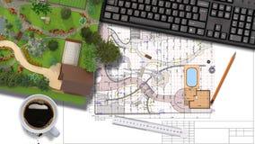 Plan av trädgårds- land Fotografering för Bildbyråer