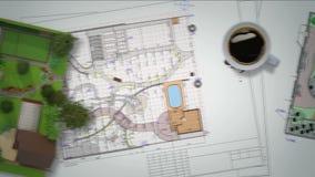 Plan av trädgårds- land stock video
