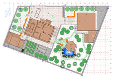 Plan av trädgårds- land Arkivbilder