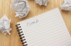 Plan B. Written on a lined notepad and surrounded by screwed up balls of paper Royalty Free Stock Images