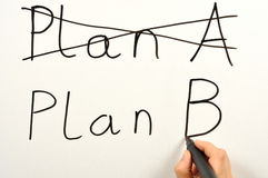 Plan B. Someone writing plan A and plan B on a board Royalty Free Stock Photos