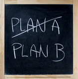 Crossing out PLAN A going PLAN B chalkboard blackboard Stock Photography