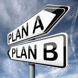 Plan A or B alternative choices. Backup plan a or B alternative strategy choices or different possible strategies road sign arrow stock illustration