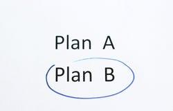 Plan B in blauw potlood wordt omcirkeld dat Stock Afbeelding