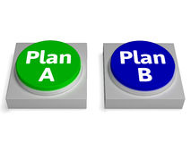 Plan A B Buttons Shows Decision Or Strategy Stock Photography