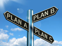 Plan A B or C Choice Showing Strategy Change Or Dilemma Stock Photography