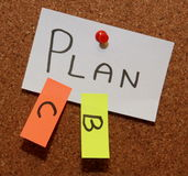 Plan B and C!. Sticky notes forming text - plan b and plan c Royalty Free Stock Image