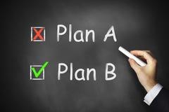 Plan a b chlakboard checkbox. Hand drawing plan a b checkboxes on chalkboard Royalty Free Stock Image