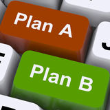 Plan A or B Choice Shows Strategy Or Change Stock Photo