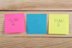 Plan a or plan b on colorful office stickers on wooden desk. Business choice - Plan a or plan b on colorful office stickers on wooden desk, message, note, notice royalty free stock photography