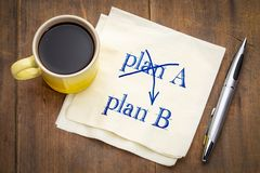 Plan A and B concept on napkin. Plan A and B concept - handwriting on a napkin with a cup of coffee royalty free stock photography