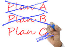 Plan A and B crossed, Plan C take over Stock Image
