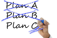 Plan A and B crossed, Plan C take over plan A & B Royalty Free Stock Images