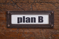 Plan B - file cabinet label Stock Images