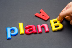 Plan B. Hand arrange alphabet letters as Plan B Stock Images