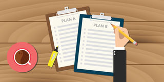 Plan a and b illustration with clipboard Royalty Free Stock Images