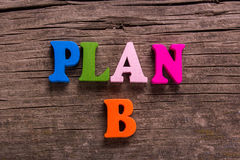 Plan B word made of wooden letters Stock Image
