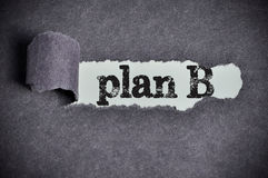 Plan B word under torn black sugar paper Stock Photography