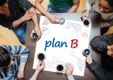 Plan b written on a poster with drawings of charts Royalty Free Stock Photography