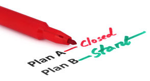 Plan A and B written by red pen Royalty Free Stock Photo