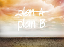 Plan a and b written on wall with sky Stock Images