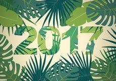 Plan bakgrund för abstrakt begrepp med färgrik palmbladgrönska och Royaltyfria Bilder