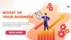 Plan banerökning upp din affär med befordran royaltyfri illustrationer