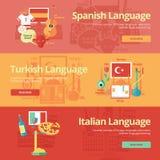 Plan banersamling för spanjor, turk, italienare Begrepp för utbildning för utländska språk för rengöringsdukbaner och tryckmateri Royaltyfri Fotografi