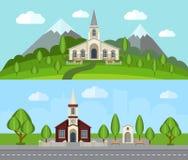Plan baneruppsättning för kyrka Arkivbild