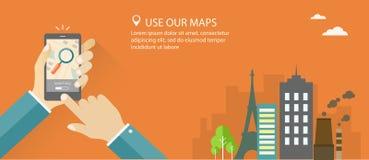 Plan baneruppsättning med handinnehavtelefonen med stadsbakgrund och