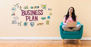 Plan biznesowy z kobietą używa laptop royalty ilustracja