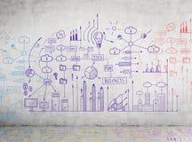 Plan bleu d'affaires sur un mur en béton Image libre de droits