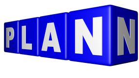 Plan Blue cubes. Blue cubes with the word PLAN in a perspective view Stock Images