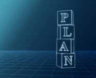 Plan blueprint. Plan – 3d glass boxes with text over dark background Royalty Free Stock Photos