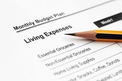 Plan budgétaire mensuel images stock