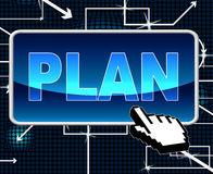 Plan Button Means Project Programme And Web Royalty Free Stock Photography