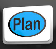 Plan Button Shows Objectives Planning And Organizing. Plan Button Showing Objectives Planning And Organizing Royalty Free Stock Photo