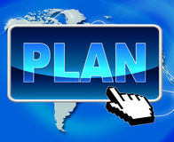 Plan Button Shows World Wide Web And Formula Royalty Free Stock Image