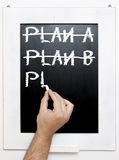 Plan c. My hand on black chalk table Royalty Free Stock Image