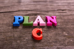 Plan C word made of wooden letters Stock Photo