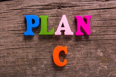 Plan C word made of wooden letters Stock Photos
