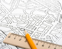 Plan city. Architectural drawings plan city river concept royalty free stock photos