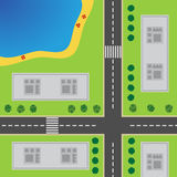 Plan Of City. Top view of the city. With the road, crossroad, high-rise buildings, trees, shrubs and the beach stock illustration