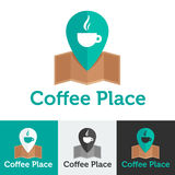 Plan coffee shop för vektor eller kafélogouppsättning Arkivfoton