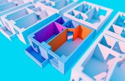 Plan coloré bleu d'appartement Image libre de droits